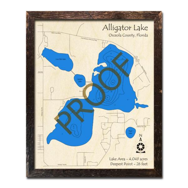Alligator Lake Wood Map 3d