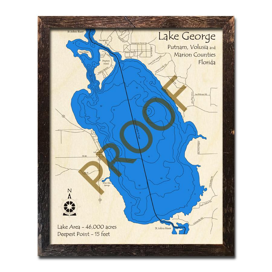 Lake George, FL Wood Map   3D Topographic Wood Chart on honeoye lake depth map, detroit lake depth map, loon lake depth map, newton lake depth map, utah lake depth map, crooked lake depth map, coldwater lake depth map, intermediate lake depth map, schroon lake depth map, niagara river depth map, tappan lake depth map, belleville lake depth map, raquette lake depth map, utica depth map, lobdell lake depth map, manistee lake depth map, lakeville depth map, east grand lake depth map, clear lake indiana depth map, woodland lake depth map,