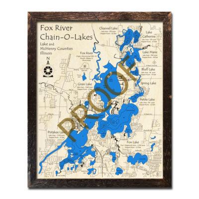 Fox River Chain of Lake Illinois Wood Map