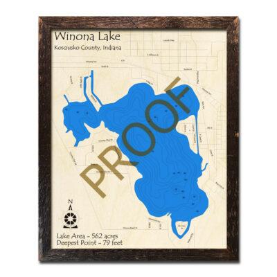 Winona Lake Indiana 3d Wood map