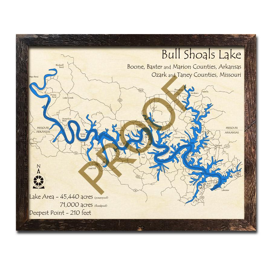 Bull Shoals Lake, MO Wood Map   3D Nautical Wood Charts