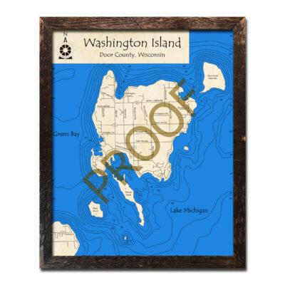 Washington Island Lake Michigan 3d wood map