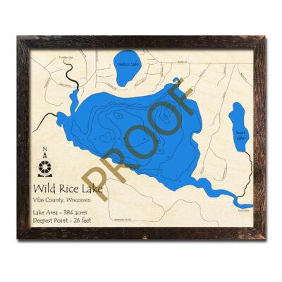 Wild Rice Lake 3d wooden map