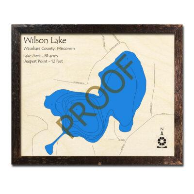 Wilson Lake Wisconsin 3d wood map