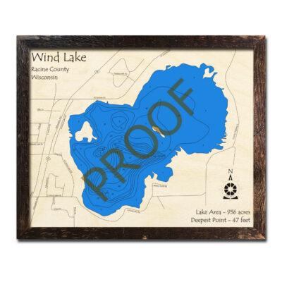 Wind Lake Wisconsin 3d wood map