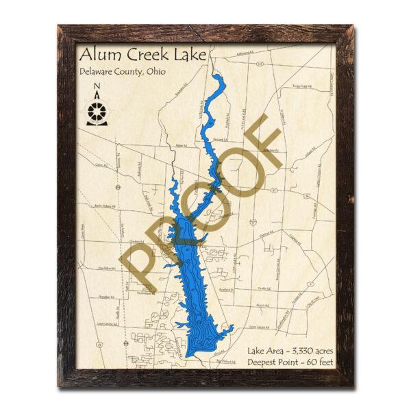Alum Creek Lake 3D Wood Map