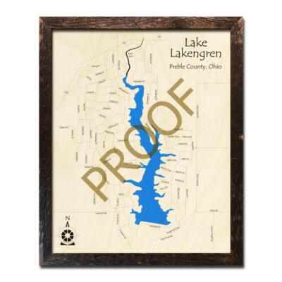 Lake Lakengren 3d wood map