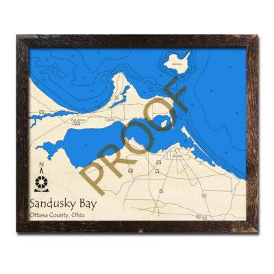 Sandusky Bay 3d wood map