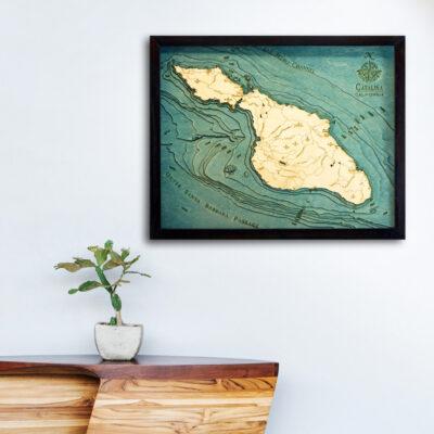 Catalina 3d wood map, catalina poster, catalina wall art