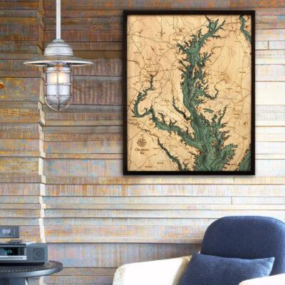 Chesapeake 3d wood map, Chesapeake bay poster, Chesapeake Bay gift ideas