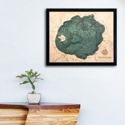 Crater Lake 3d wood map, Crater Lake poster