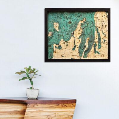 Grand Traverse Bay wood map, Grand Traverse Bay poster, Grand Traverse Bay home decor