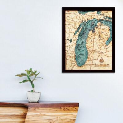 Lake Michigan poster, wall art, 3d wood map