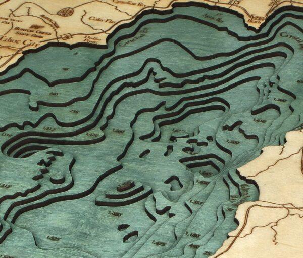Lake Tahoe Wood Map, Lake Tahoe 3D Chart