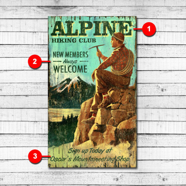 Hiking Club Personalized Vintage Sign