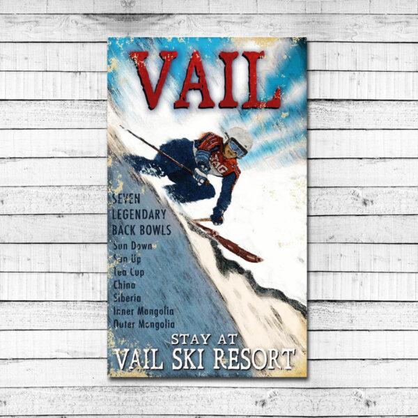 Vintage Vail Ski Sign