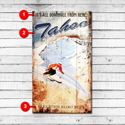 Downhill Skiing Personalized Retro Sign