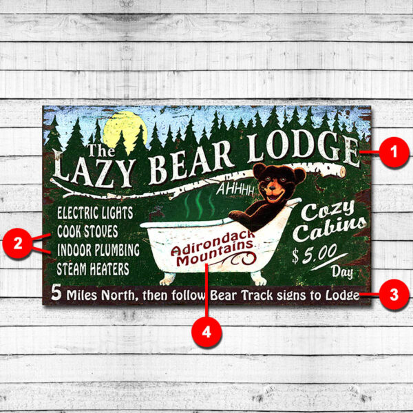 Lazy Bear Lode Personalized Cabin Sign