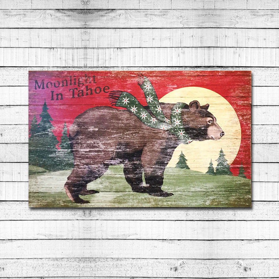 Moonlight in Tahoe   Personalized & Retro Cabin Sign
