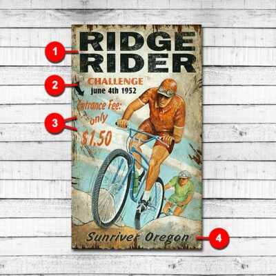 Mountain Biking Personalized Retro Sign