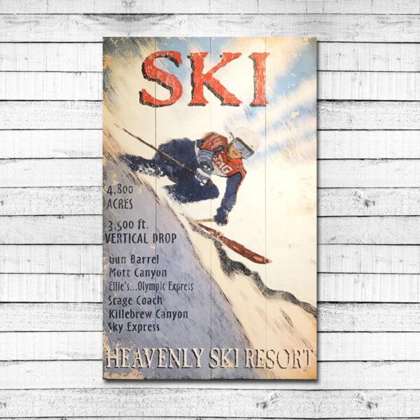 Heavenly Resort Vintage Ski Sign