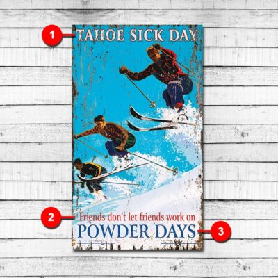 Powder Day Personalized Ski Sign