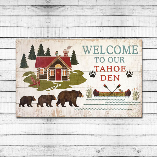 Lake Tahoe Vintage Sign with Bears