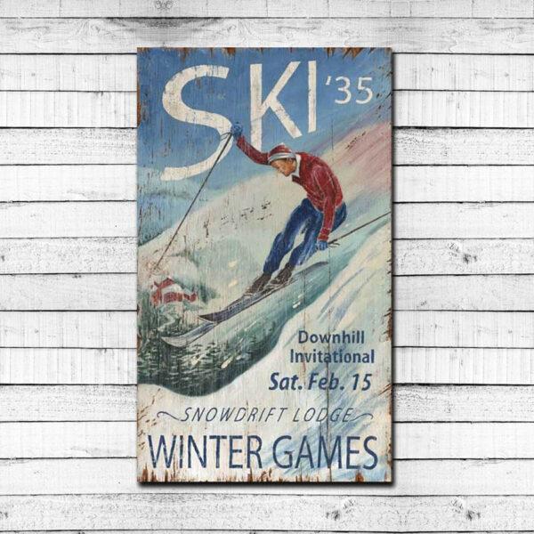 Vintage Ski Sign Snowdrift Lodge