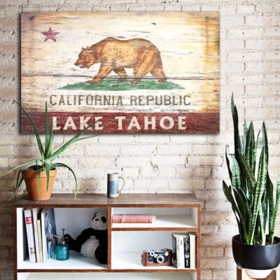 California flag, california republic wood sign