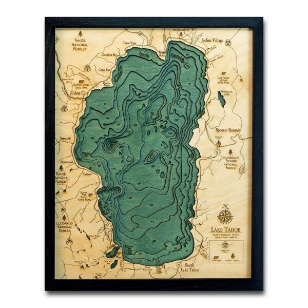 wood map of lake tahoe 3d
