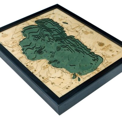 Lake Tahoe Wood Map, Lake Tahoe 3D Chart