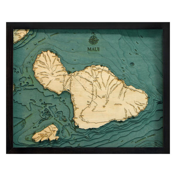 3D Topo Wood Map of Maui Hawaii