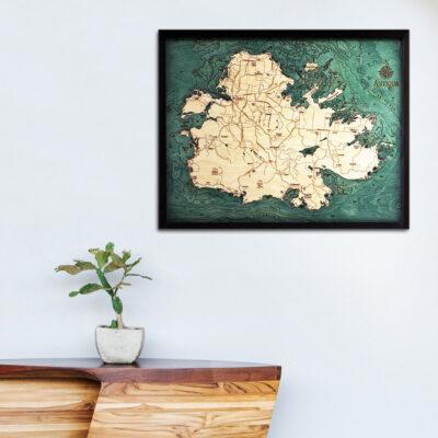 Antigua 3d wood map poster