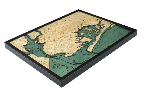 Brooklyn, New York 3-D Nautical Wood Chart, 24.5″ x 31″
