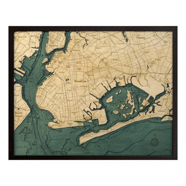 Brooklyn 3D Wood Map | 3D Topographic Wood Chart