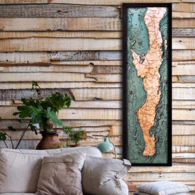 Baja Peninsula 3d wood map poster