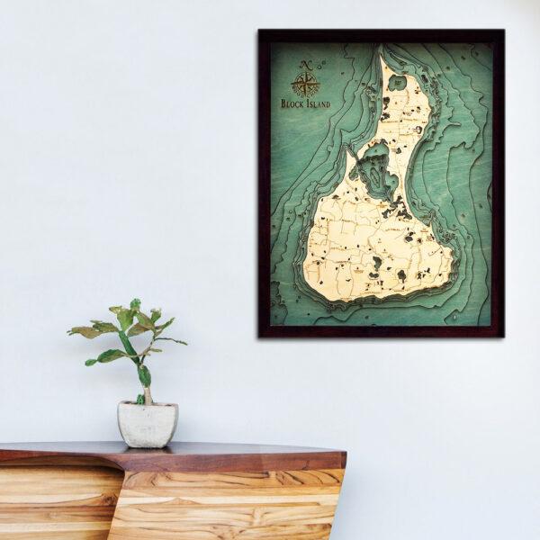 Block Island Rhode Island Wood map 3d poster