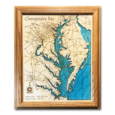 Chesapeake Bay wood map in single depth topography