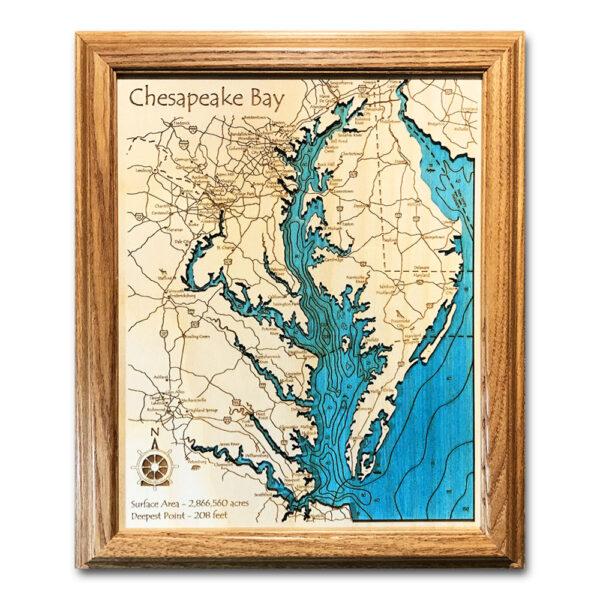 Chesapeake Bay wood map in single depth topography