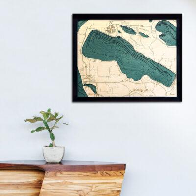Crystal Lake MI 3d wood map