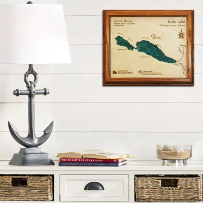 Echo Lake laser-etched wood chart poster wall art
