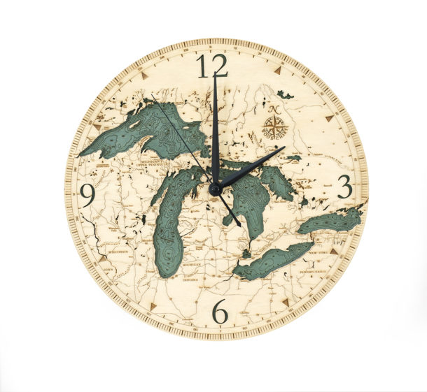 Great Lakes wood clock in 3d