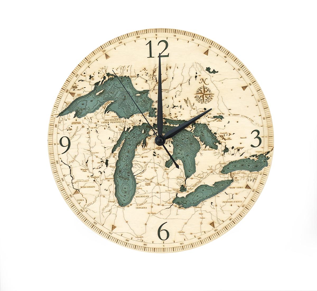 Great Lakes wood clock in 3d