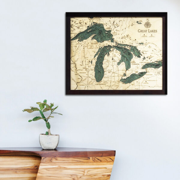 Great Lakes 3d wood map, small