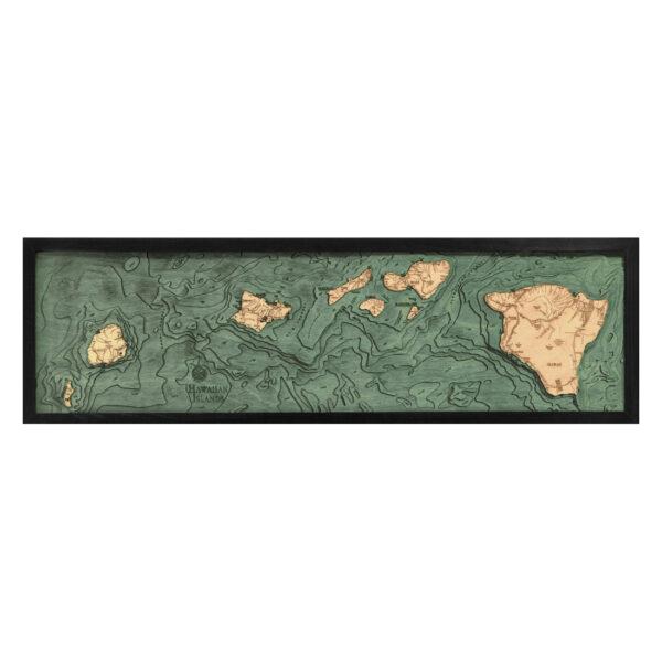 Hawaiian Islands 3D Wood Map | Framed 3D Topographic Wood Chart