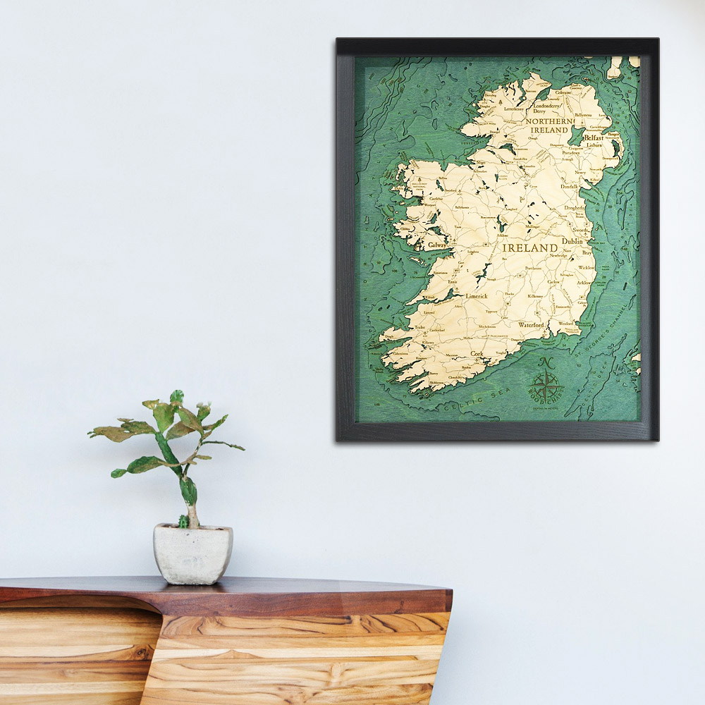 Map Of Ireland 3d.Ireland 3d Wood Map Framed 3d Topographic Wood Chart