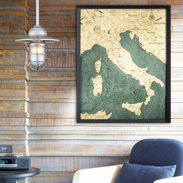 Italy 3d wood map poster
