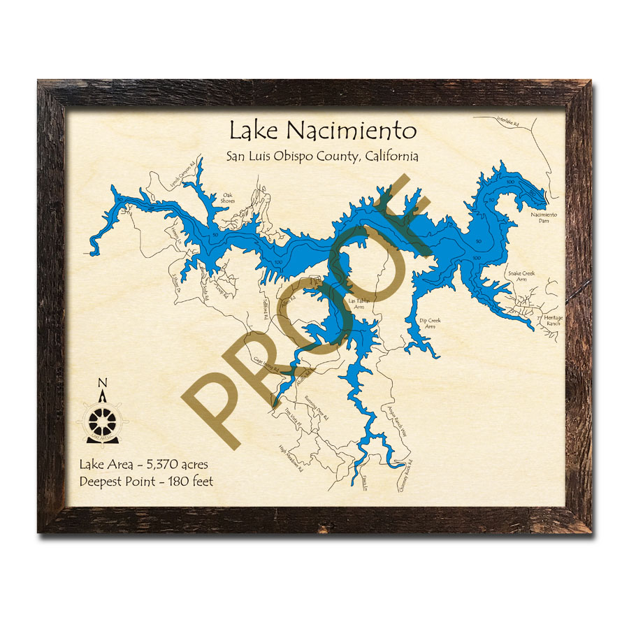 Lake Nacimiento wood map, topographic chart