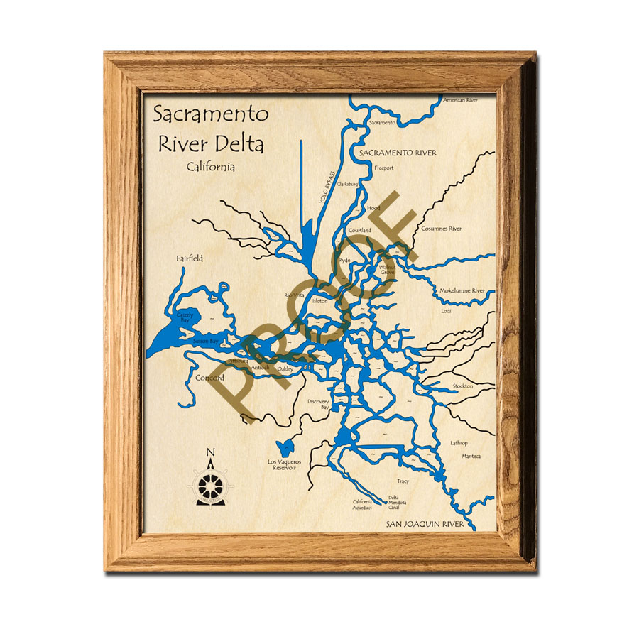 Sacramento Delta laser-etched wood map, laser-printed poster wall art
