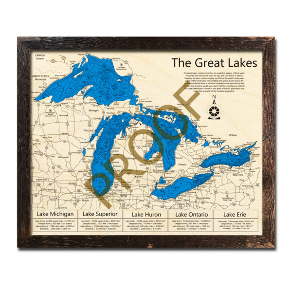 Great Lakes 3D Wood Map